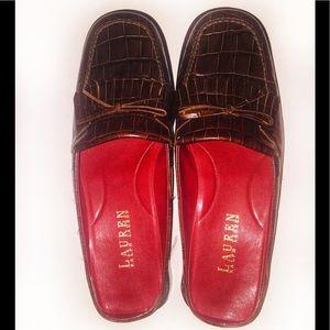 RALPH LAUREN Vivian Chestnut Croc Loafer Mule-S 7